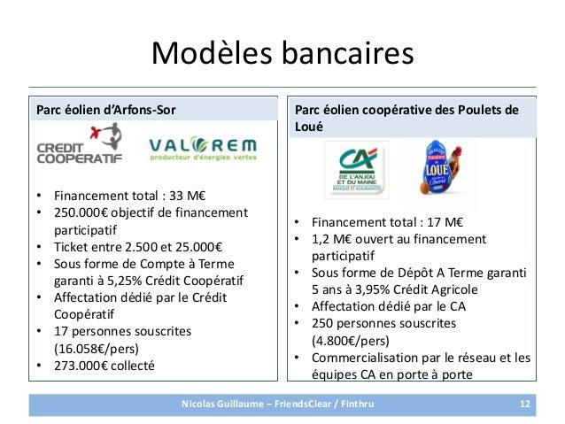 Modèles bancaires12• Financement total : 17 M€• 1,2 M€ ouvert au financementparticipatif• Sous forme de Dépôt A Terme gara...
