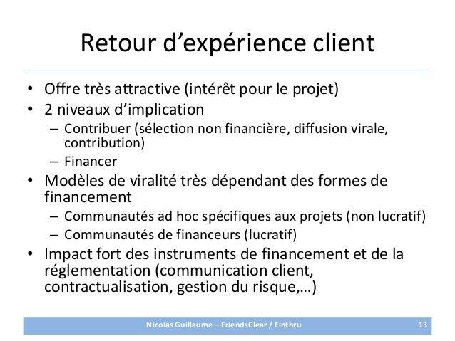 Retour d'expérience client• Offre très attractive (intérêt pour le projet)• 2 niveaux d'implication– Contribuer (sélection...