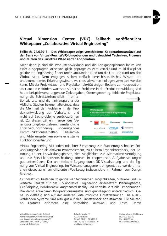 MITTEILUNG • INFORMATION • COMMUNIQUÉVirtual Dimension Center FellbachKompetenzzentrum Virtuelle Realitätund Kooperatives ...