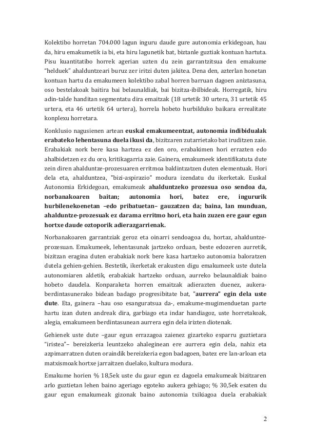 Emakume helduen ahalduntze prozesuak Euskal Autonomia Erkidegoan Slide 2