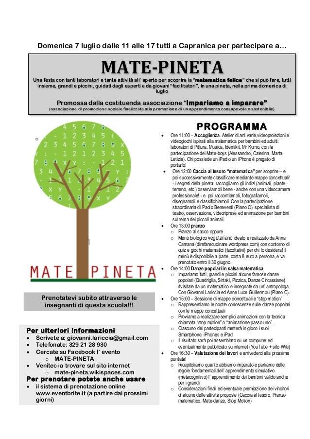 Domenica 7 luglio dalle 11 alle 17 tutti a Capranica per partecipare a…MATE-‐PINETA Una festa con tanti laborato...