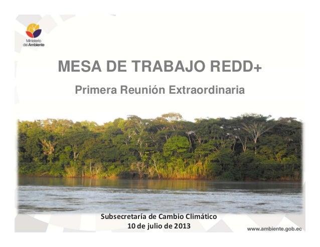 MESA DE TRABAJO REDD+ Primera Reunión Extraordinaria Subsecretaría de Cambio Climático 10 de julio de 2013