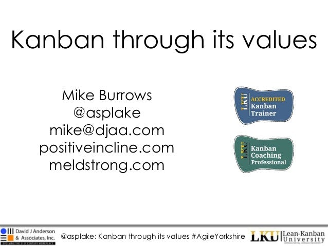 @asplake: Kanban through its values #AgileYorkshire Kanban through its values Mike Burrows @asplake mike@djaa.com positive...