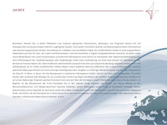 Seite 18www.starcapital.de Juli 2013 Besonderer Hinweis: Die in dieser Publikation zum Ausdruck gebrachten Informationen, ...