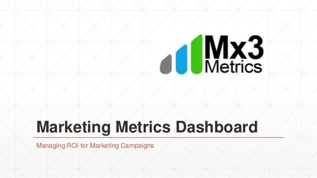 Marketing Metrics Dashboard Managing ROI for Marketing Campaigns