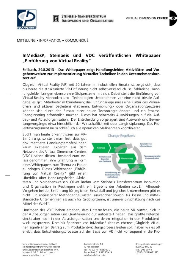 MITTEILUNG • INFORMATION • COMMUNIQUÉ Virtual Dimension Center Fellbach Kompetenzzentrum Virtuelle Realität und Kooperativ...