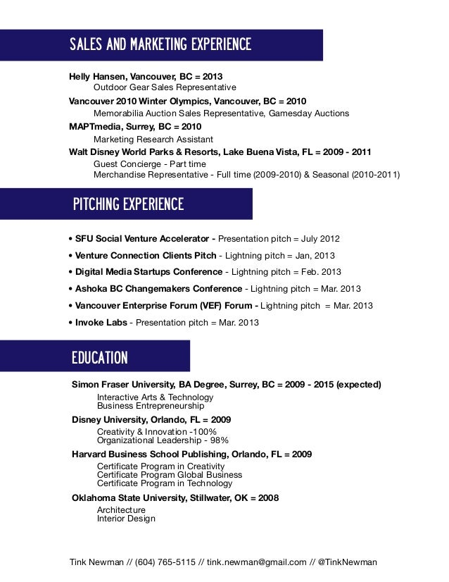 august 2013 resume tink newman