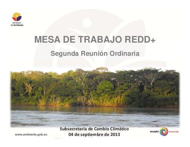 MESA DE TRABAJO REDD+ Segunda Reunión Ordinaria Subsecretaría de Cambio Climático 04 de septiembre de 2013