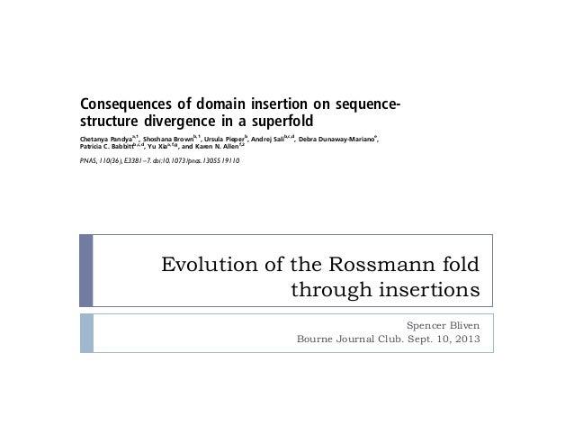 Evolution of the Rossmann fold through insertions Spencer Bliven Bourne Journal Club. Sept. 10, 2013 PNAS, 110(36), E3381–...