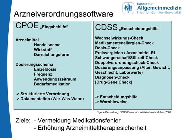 """Arzneiverordnungssoftware CPOE""""Eingabehilfe"""" Arzneimittel Handelsname Wirkstoff Darreichungsform Dosierungsschema Einzeldo..."""