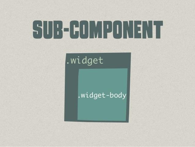 /* # Module */ /* ## Button */ .btn { ... } .btn--primary { ... } .btn--small { ... } /* ## Widget */ .widget { ... } .wid...