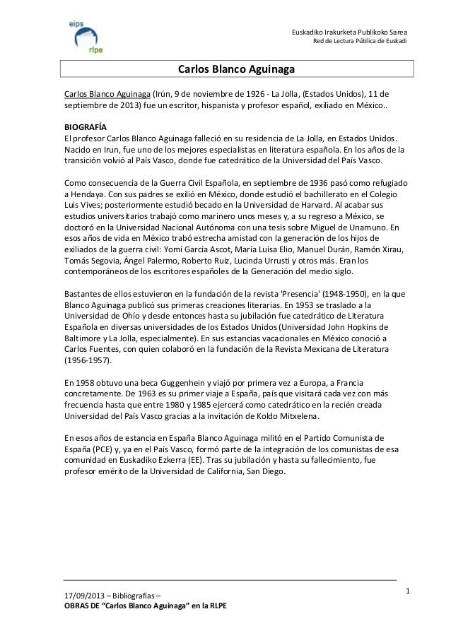 """17/09/2013 – Bibliografías – OBRAS DE """"Carlos Blanco Aguinaga"""" en la RLPE 1 Euskadiko Irakurketa Publikoko Sarea Red de Le..."""