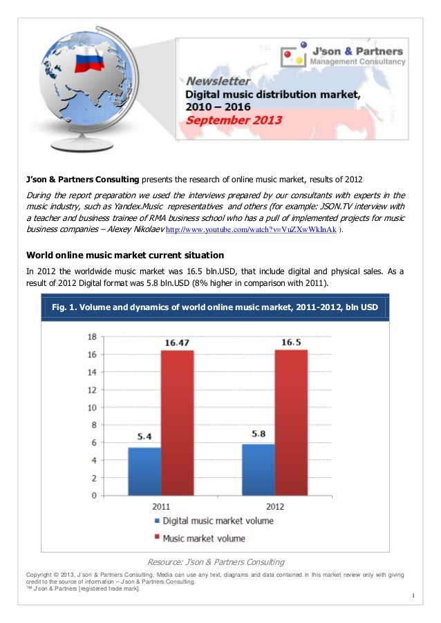 J'son & Partners Consulting presents the research of online music market, results of 2012  During the report preparation w...