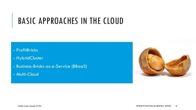 BASIC APPROACHES IN THE CLOUD CloudOps Summit, September 25, 2013 COPYRIGHT © 2013 BY NEW AGE DISRUPTION   RENÉ BÜST 22 - ...