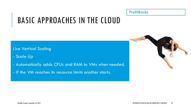 BASIC APPROACHES IN THE CLOUD CloudOps Summit, September 25, 2013 COPYRIGHT © 2013 BY NEW AGE DISRUPTION   RENÉ BÜST 23 Pr...