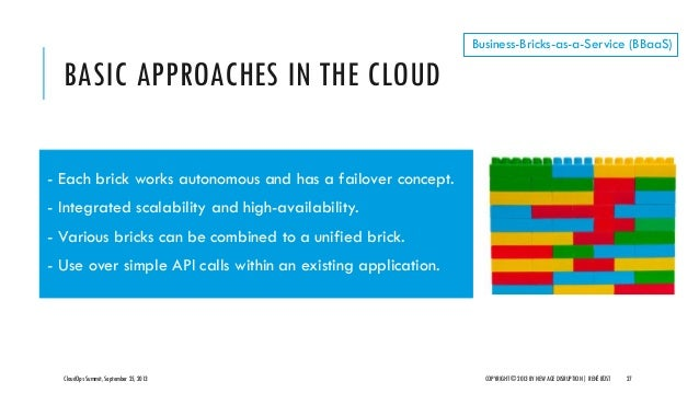 BASIC APPROACHES IN THE CLOUD CloudOps Summit, September 25, 2013 COPYRIGHT © 2013 BY NEW AGE DISRUPTION   RENÉ BÜST 27 Bu...
