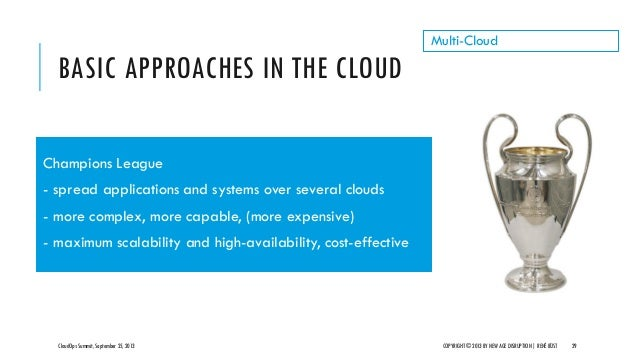 BASIC APPROACHES IN THE CLOUD CloudOps Summit, September 25, 2013 COPYRIGHT © 2013 BY NEW AGE DISRUPTION   RENÉ BÜST 29 Mu...