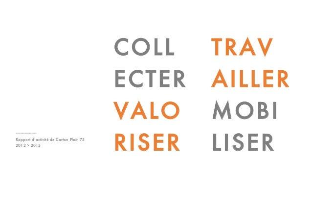 _________ Rapport d'activité de Carton Plein 75 2012 > 2013 COLL ECTER VALO RISER TRAV AILLER MOBI LISER