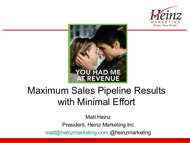 Maximum Sales Pipeline Results     with Minimal Effort                  Matt Heinz        President, Heinz Marketing Inc  ...
