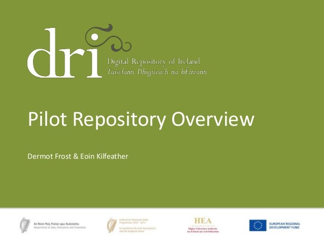 Pilot Repository Overview Dermot Frost & Eoin Kilfeather