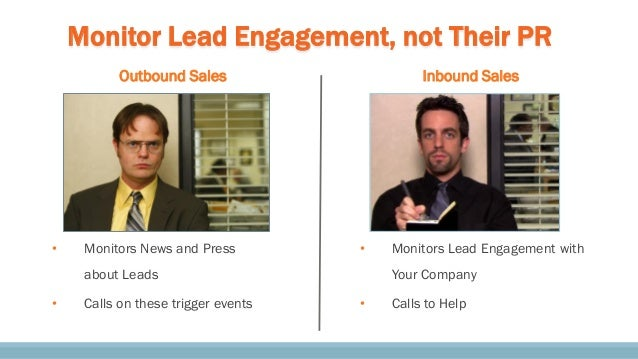 Monitor Lead Engagement, not Their PR • Monitors News and Press about Leads • Calls on these trigger events Outbound Sales...