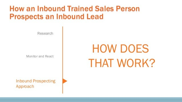 How an Inbound Trained Sales Person Prospects an Inbound Lead Research Monitor and React Inbound Prospecting Approach HOW ...