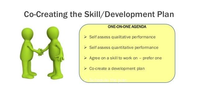 Co-Creating the Skill/Development Plan ONE-ON-ONE AGENDA  Self assess qualitative performance  Self assess quantitative ...