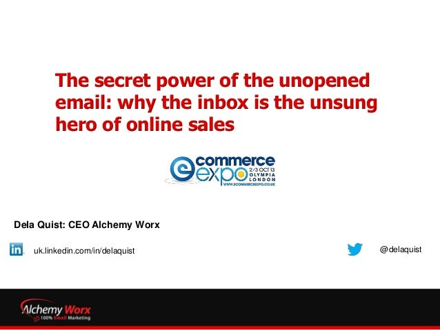 The secret power of the unopened email: why the inbox is the unsung hero of online sales Dela Quist: CEO Alchemy Worx @del...