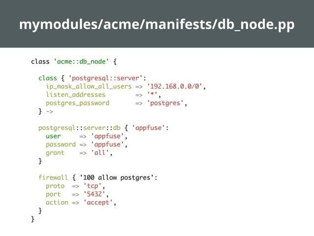 manifests/site.pp  import 'nodes/*.pp' node 'parent' { class {'epel': } -> class {'avahi': firewall => true, } }