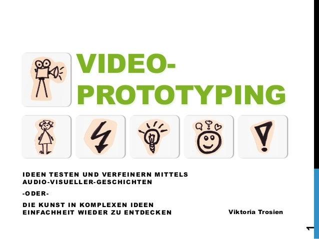 VIDEOPROTOTYPING IDEEN TESTEN UND VERFEINERN MITTELS AUDIO-VISUELLER-GESCHICHTEN -ODERViktoria Trosien  1  DIE KUNST IN KO...