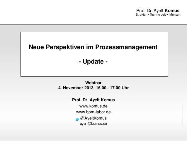 Prof. Dr. Ayelt Komus  Struktur  Technologie  Mensch  Neue Perspektiven im Prozessmanagement - Update -  Prof. Dr. Ayelt...