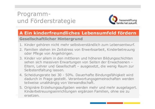 Programmund Förderstrategie A Ein kinderfreundliches Lebensumfeld fördern Gesellschaftlicher Hintergrund 1. Kinder gehören...