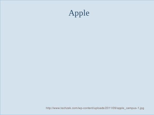 Apple  Slide 11  http://www.techzek.com/wp-content/uploads/2011/09/apple_campus-1.jpg