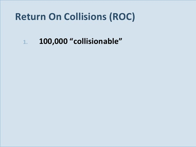 "Return On Collisions (ROC) 1.  Slide 119  100,000 ""collisionable"""