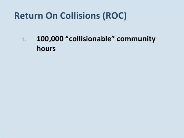 "Return On Collisions (ROC) 1.  Slide 121  100,000 ""collisionable"" community hours"