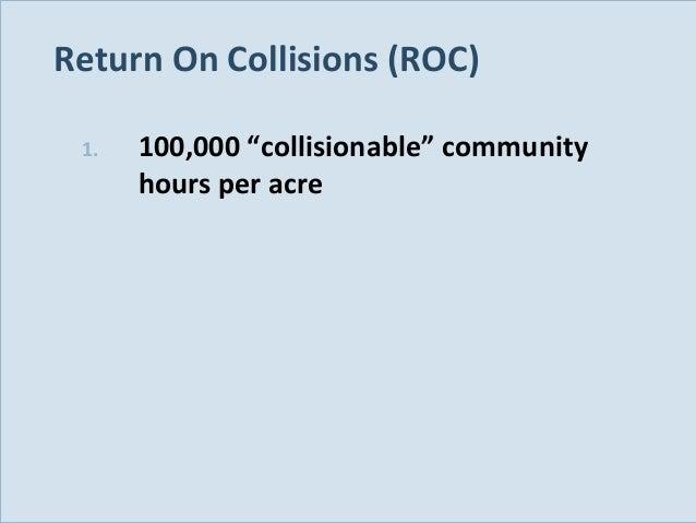 "Return On Collisions (ROC) 1.  Slide 123  100,000 ""collisionable"" community hours per acre"