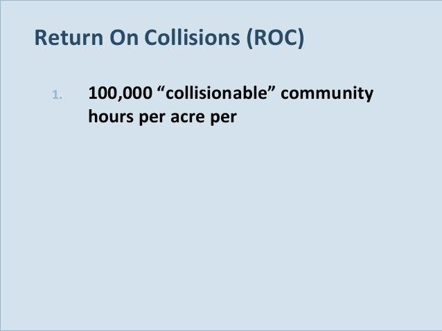 "Return On Collisions (ROC) 1.  Slide 124  100,000 ""collisionable"" community hours per acre per"