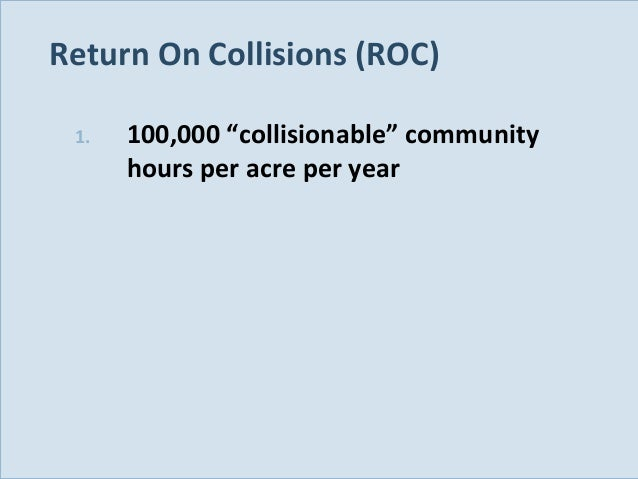"""Return On Collisions (ROC) 1.  Slide 125  100,000 """"collisionable"""" community hours per acre per year"""