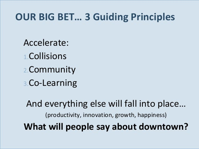 OUR BIG BET… 3 Guiding Principles Accelerate: 1.Collisions 2.Community 3.Co-Learning And everything else will fall into pl...