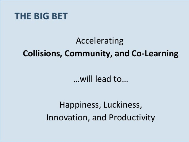 THE BIG BET Accelerating Collisions, Community, and Co-Learning …will lead to… Happiness, Luckiness, Innovation, and Produ...