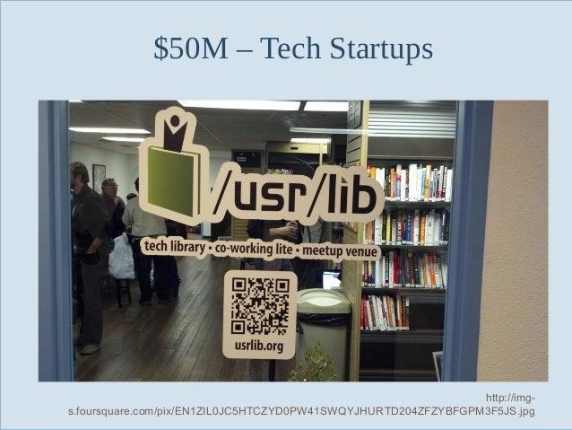 $50M – Tech Startups  Slide 60  http://imgs.foursquare.com/pix/EN1ZIL0JC5HTCZYD0PW41SWQYJHURTD204ZFZYBFGPM3F5JS.jpg