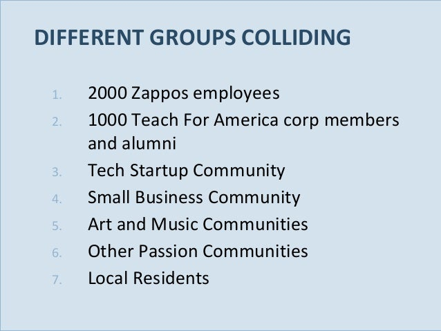 DIFFERENT GROUPS COLLIDING 1. 2. 3. 4. 5. 6. 7. Slide 79  2000 Zappos employees 1000 Teach For America corp members and al...