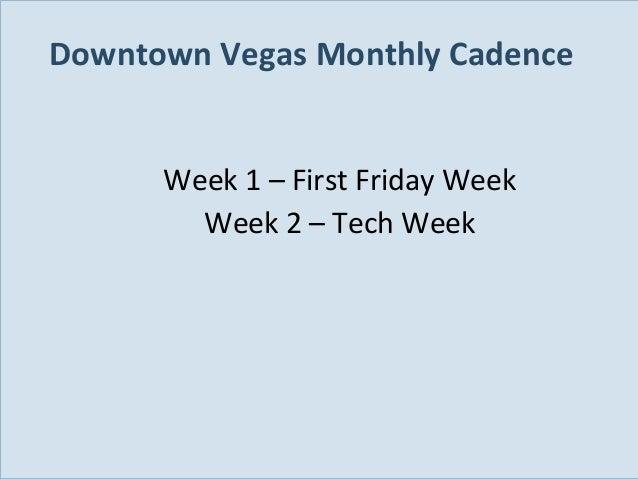 Downtown Vegas Monthly Cadence Week 1 – First Friday Week Week 2 – Tech Week  Slide 98