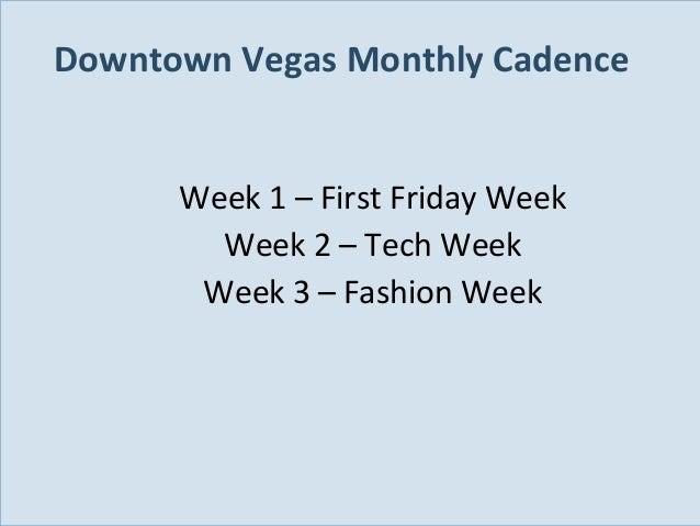 Downtown Vegas Monthly Cadence Week 1 – First Friday Week Week 2 – Tech Week Week 3 – Fashion Week  Slide 99
