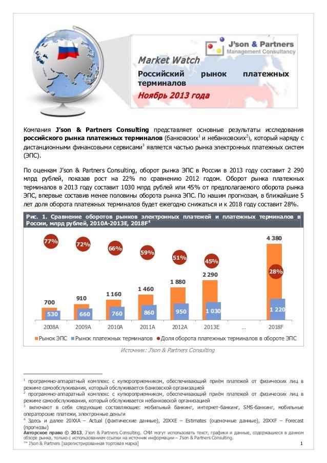 M arket W atch Российский терминалов  рынок  платежных  Ноябрь 2013 года  Компания J'son & Partners Consulting представляе...