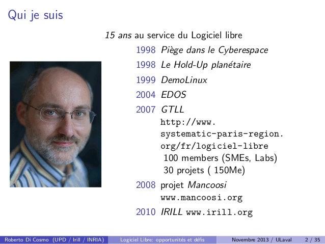 Logiciel Libre: defis et opportunites Slide 2