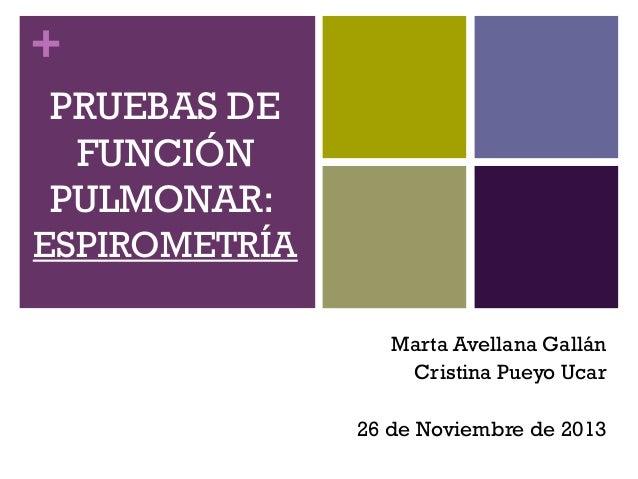 + PRUEBAS DE FUNCIÓN PULMONAR: ESPIROMETRÍA Marta Avellana Gallán Cristina Pueyo Ucar 26 de Noviembre de 2013