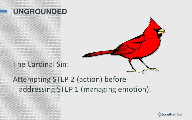 UNGROUNDED  The Cardinal Sin:  Attempting STEP 2 (action) before addressing STEP 1 (managing emotion).