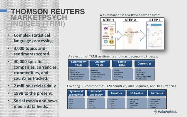 THOMSON REUTERS MARKETPSYCH INDICES (TRMI)  A summary of MarketPsych text analytics.  • Complex statistical language proce...