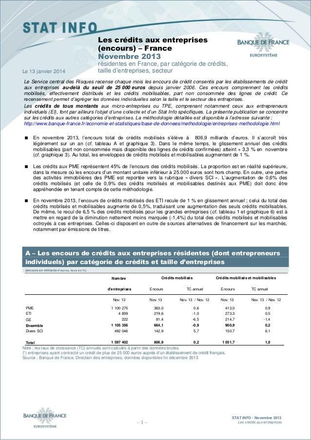 Les crédits aux entreprises (encours) – France Novembre 2013 Le 13 janvier 2014  résidentes en France, par catégorie de cr...